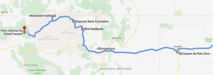 Du Canyon de Palo Duro vers le Grand Canyon